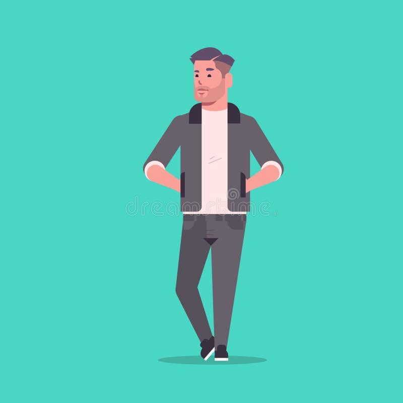 Бизнесмен в официальной носке держа руки в стоять карманов представляет усмехаясь мужской офис бизнесмена персонажа из мультфильм иллюстрация штока