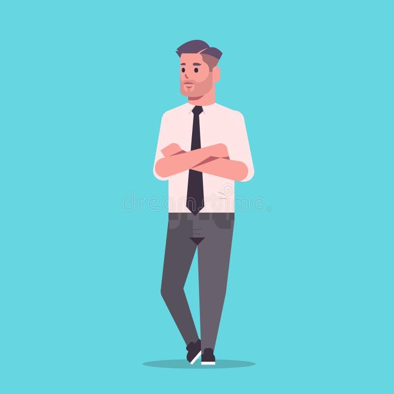 Бизнесмен в официальной носке сложил руки стоять представляет усмехаясь мужской представлять работника офиса бизнесмена персонажа бесплатная иллюстрация