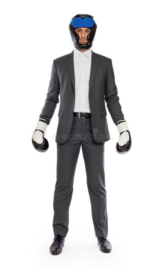 Бизнесмен в перчатках бокса стоковое изображение
