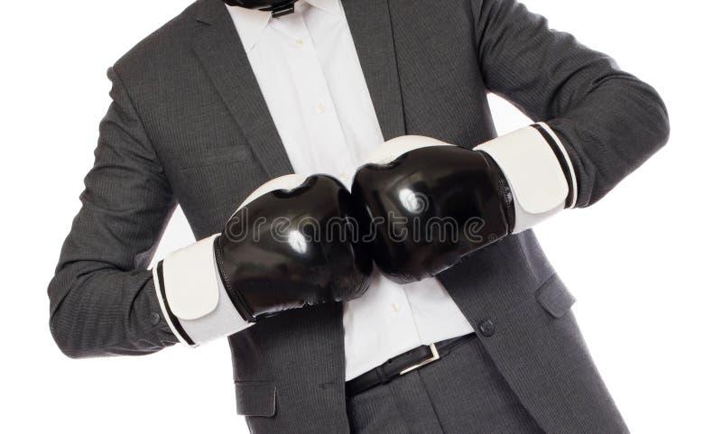 Бизнесмен в перчатках бокса стоковое фото