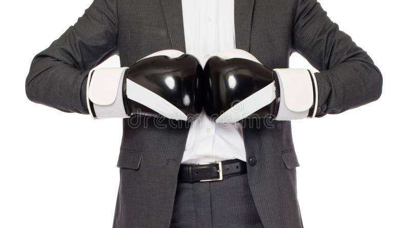 Бизнесмен в перчатках бокса стоковые изображения