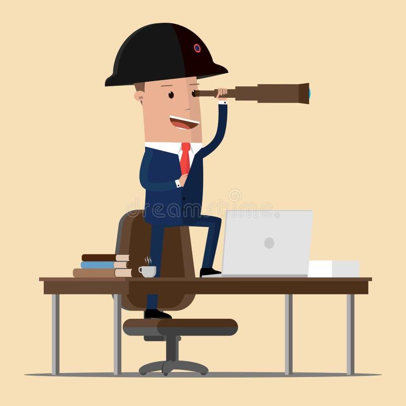 Бизнесмен в положении шляпы napoleon на таблице и смотреть через spyglass Перспектива дела также вектор иллюстрации притяжки core иллюстрация штока