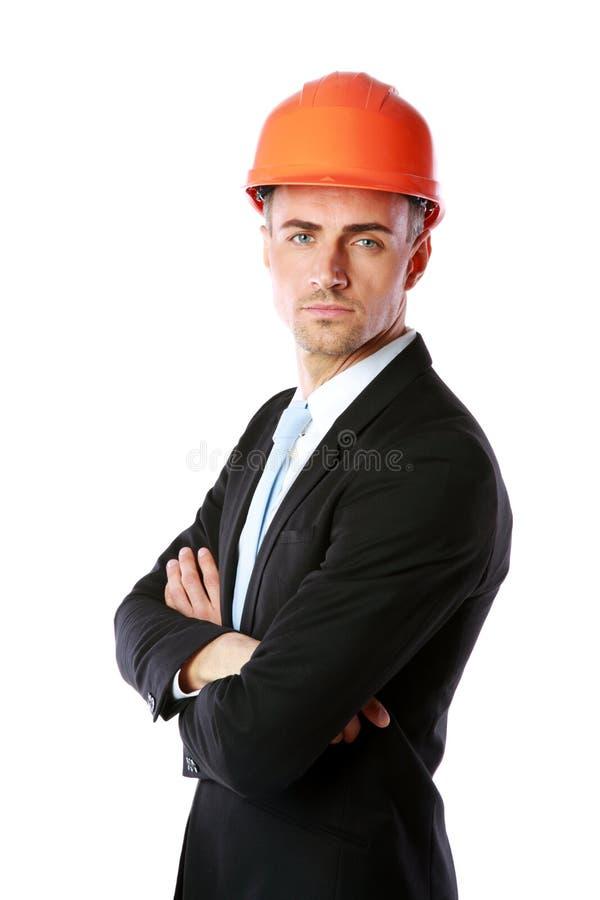 Бизнесмен в положении шлема стоковая фотография rf