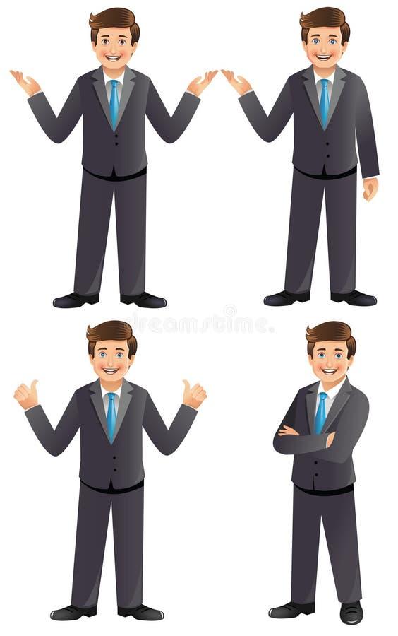 Бизнесмен в различных представлениях иллюстрация штока