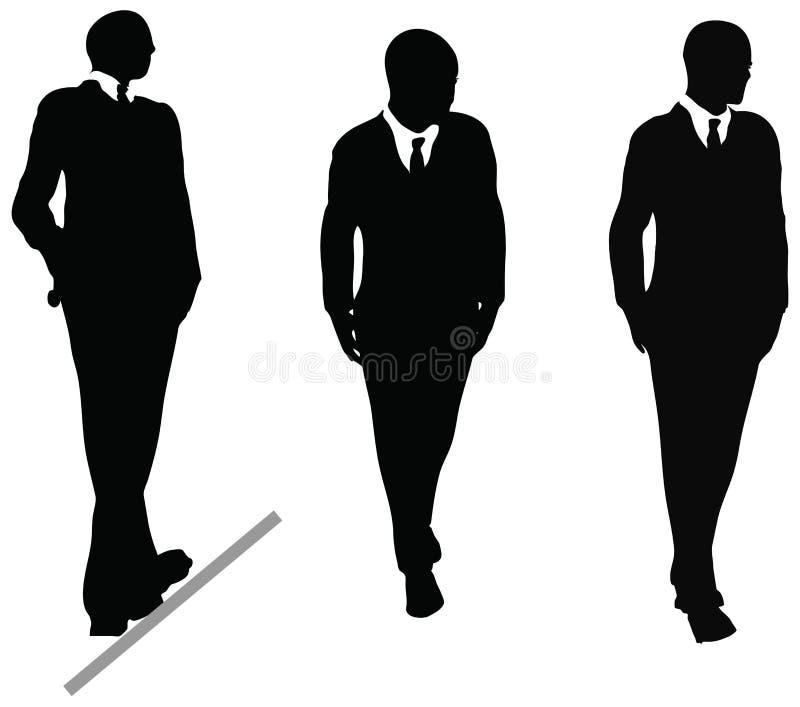 Бизнесмен в силуэте костюма и связи. Иллюстрация на белизне иллюстрация штока