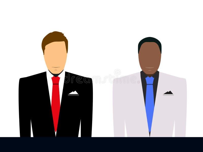 Бизнесмен в силуэте костюма и связи Человек в depersonalized костюме, Человек на белой предпосылке, силуэт бесплатная иллюстрация