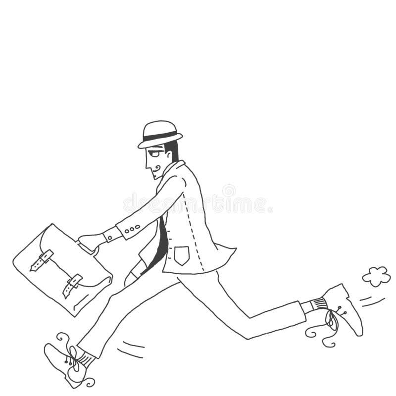 Бизнесмен в спешке бесплатная иллюстрация