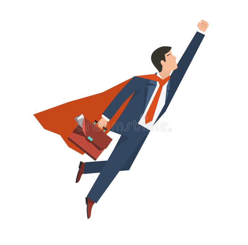 Бизнесмен в супергерое костюма летает вверх Руководство и концепция роста дела Плоский дизайн также вектор иллюстрации притяжки c иллюстрация вектора