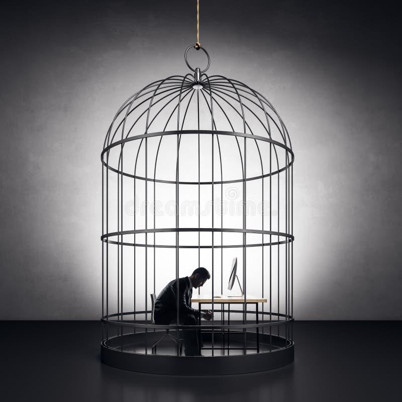 Бизнесмен в birdcage стоковые фотографии rf