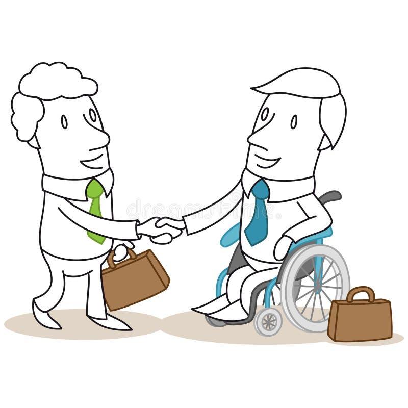 Бизнесмен в handshaking кресло-каталки бесплатная иллюстрация
