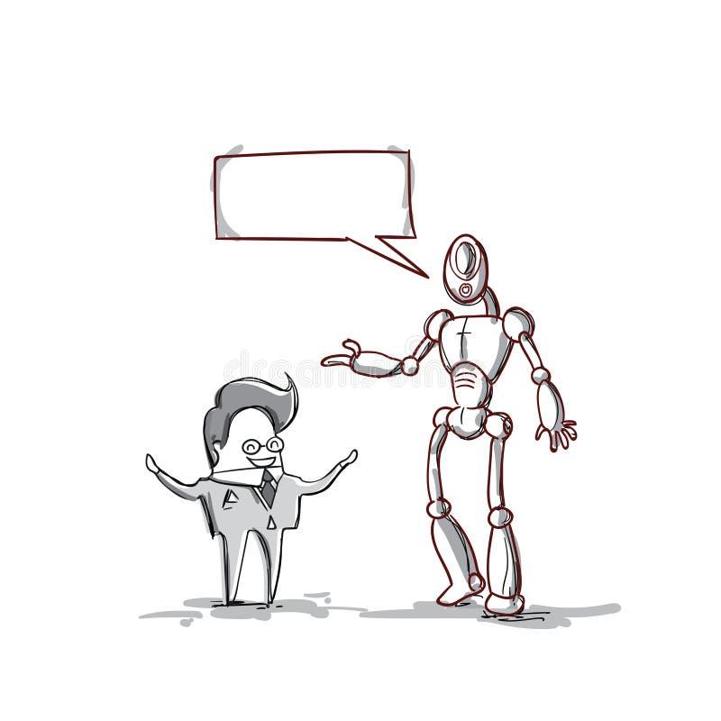 Бизнесмен говоря с современным роботом, обсуждением встречи бизнесмена иллюстрация штока
