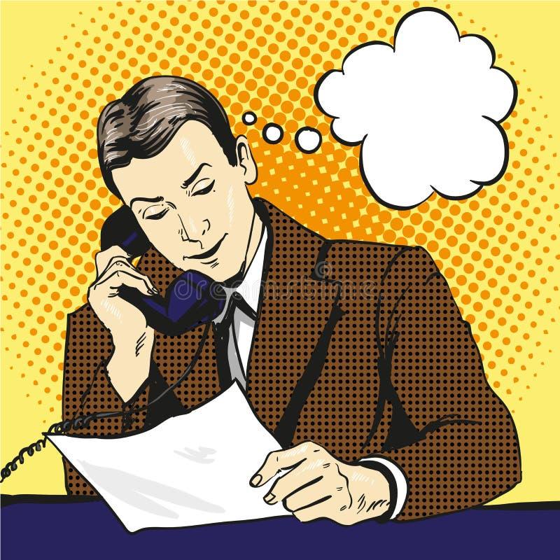 Бизнесмен говоря телефоном и читая документы бесплатная иллюстрация