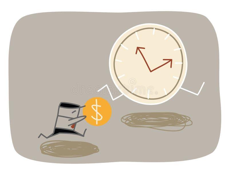 Бизнесмен гоня время иллюстрация вектора