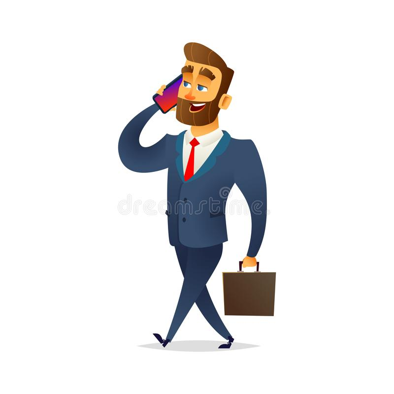 Бизнесмен гуляя и говоря на телефоне Менеджер идет с портфелем и говорить на смартфоне иллюстрация штока