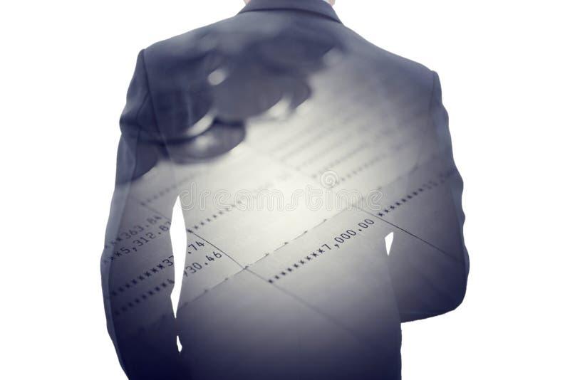 Бизнесмен двойной экспозиции и книга сберегательного банка стоковое изображение rf