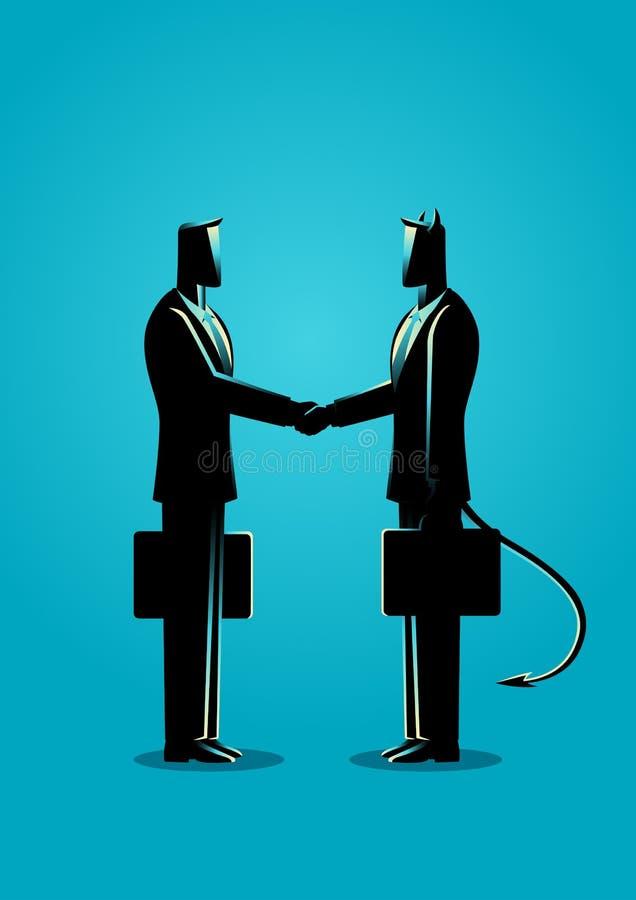 Бизнесмен делая дело с дьяволом бесплатная иллюстрация