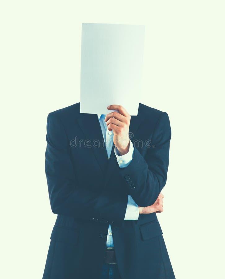 Бизнесмен держащ папки около стороны на белой предпосылке стоковые фото