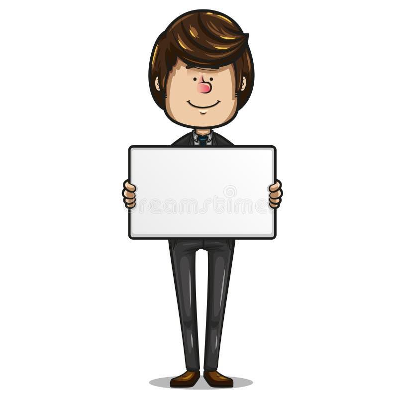 Бизнесмен держа белую доску для того чтобы добавить текст иллюстрация штока