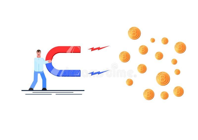 Бизнесмен держа большой магнит и привлекая cryptocurrency Концепция привлекательности вклада Эффективное управление r бесплатная иллюстрация
