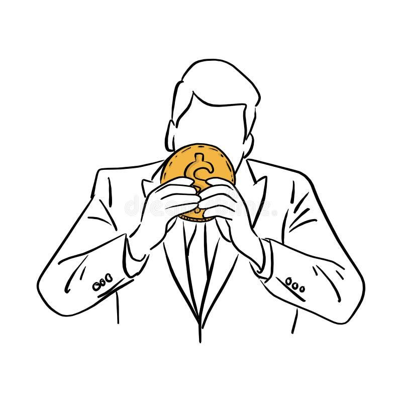 Бизнесмен держа большую золотую руку doodle эскиза иллюстрации вектора монетки нарисованный с черными линиями изолированными на б иллюстрация штока