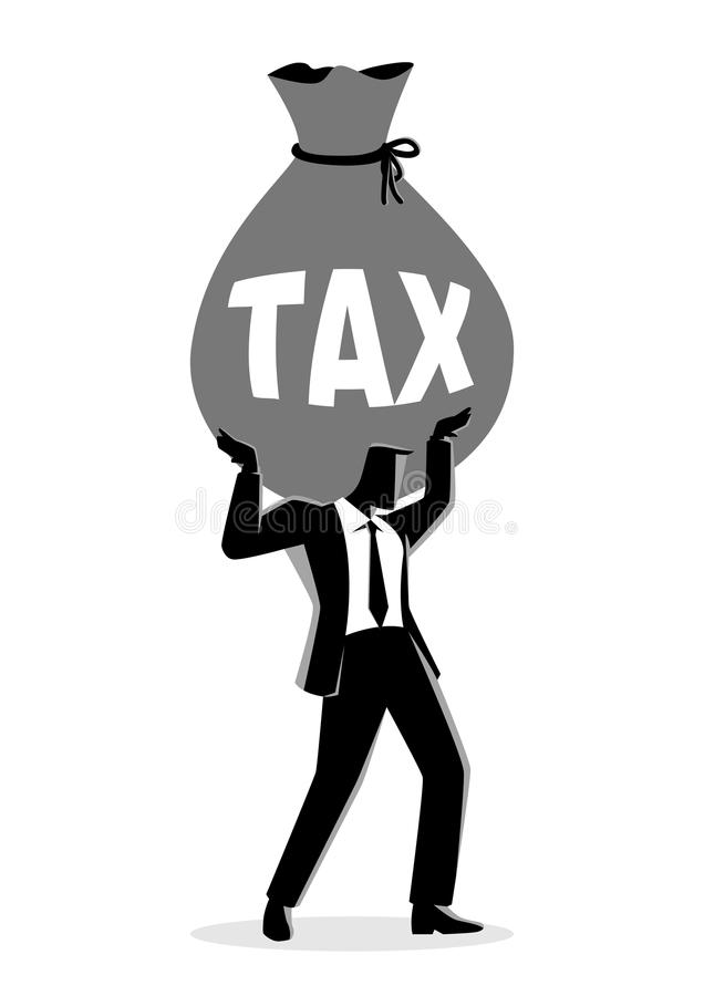 Бизнесмен держа большую сумку денег с налогом слова иллюстрация вектора
