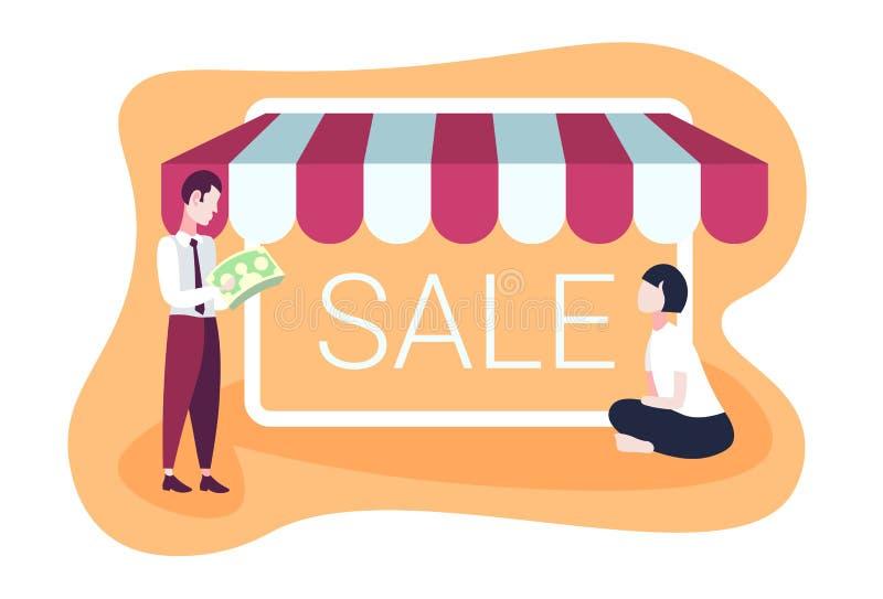 Бизнесмен держа вклады рынка продажи дела денег покупая в отношениях пар реальной концепции горизонтальных плоско бесплатная иллюстрация
