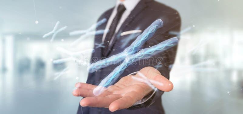 Бизнесмен держа группу в составе хромосома с дна внутри isolat стоковое фото rf