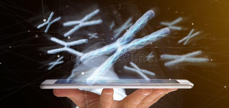 Бизнесмен держа группу в составе хромосома с дна внутри isolat стоковые фотографии rf