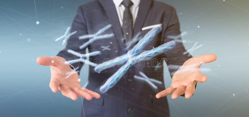 Бизнесмен держа группу в составе хромосома с дна внутри isolat стоковое фото