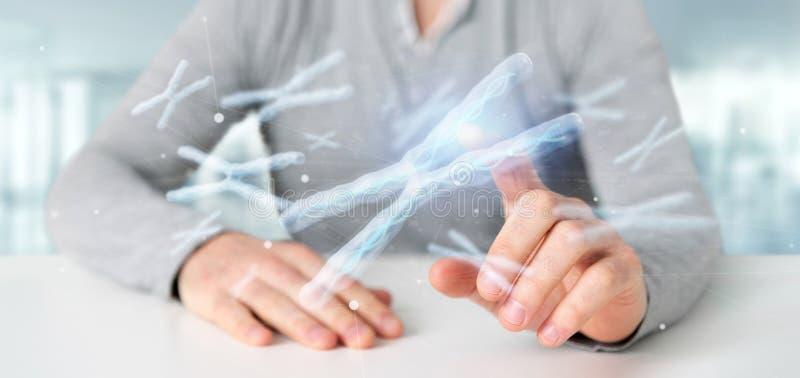 Бизнесмен держа группу в составе хромосома с ДНК внутрь на переводе предпосылки 3d стоковое фото rf
