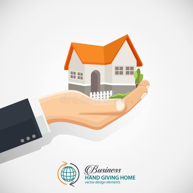 Бизнесмен держа дом Дело недвижимости иллюстрация вектора