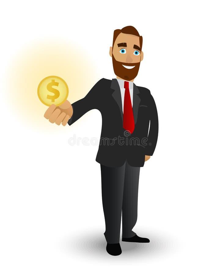 Бизнесмен держа золотую монетку, символ успеха в деле, сильные финансовые показатели и богатство иллюстрация вектора