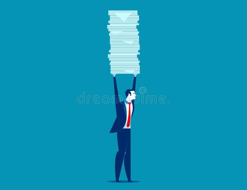 Бизнесмен держа много документы Иллюстрация вектора дела концепции иллюстрация штока