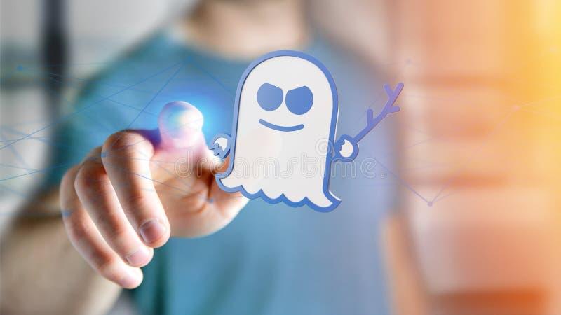 Бизнесмен держа нападение процессора призрака с conn сети бесплатная иллюстрация