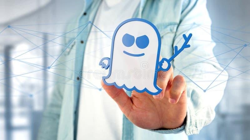 Бизнесмен держа нападение процессора призрака с conn сети иллюстрация вектора