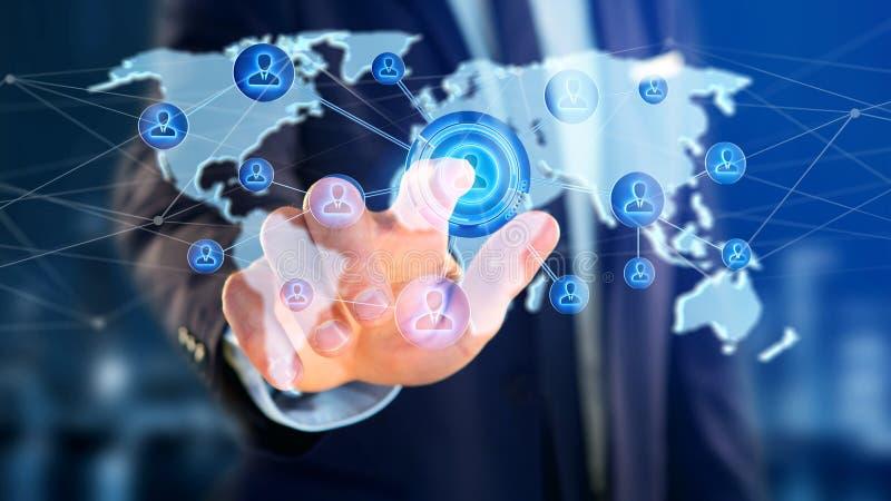 Бизнесмен держа сеть над соединенной картой мира - re 3d иллюстрация штока