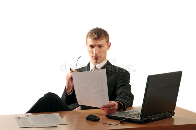 бизнесмен документирует чтение стоковое фото rf
