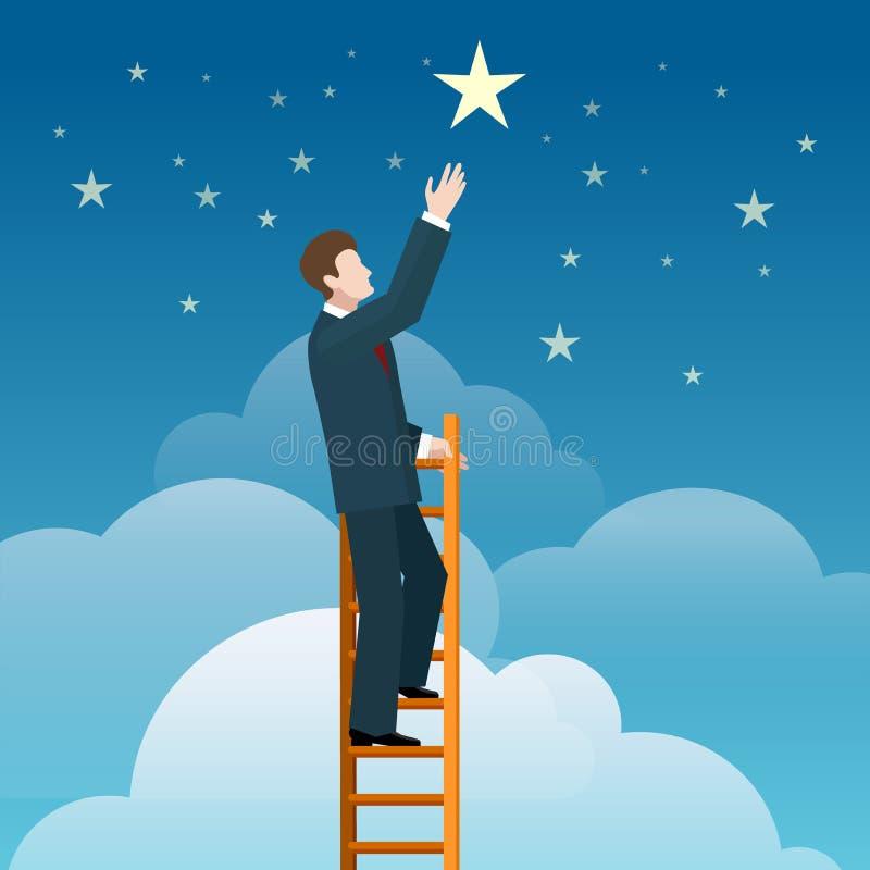 Бизнесмен достигая звезды иллюстрация штока