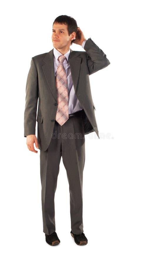 бизнесмен думает детеныши стоковые фото