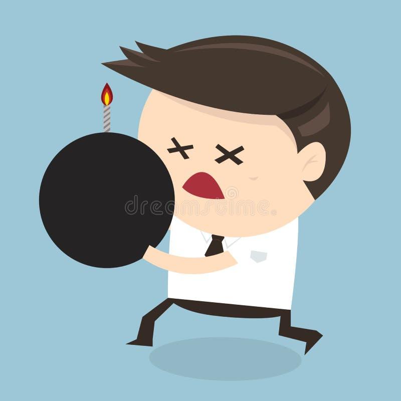 Бизнесмен держа бомбу, плоский дизайн иллюстрация штока