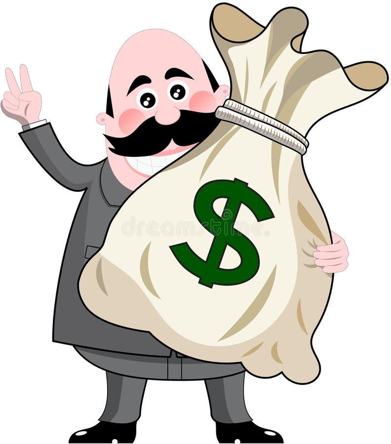 Бизнесмен держа большую сумку денег иллюстрация вектора