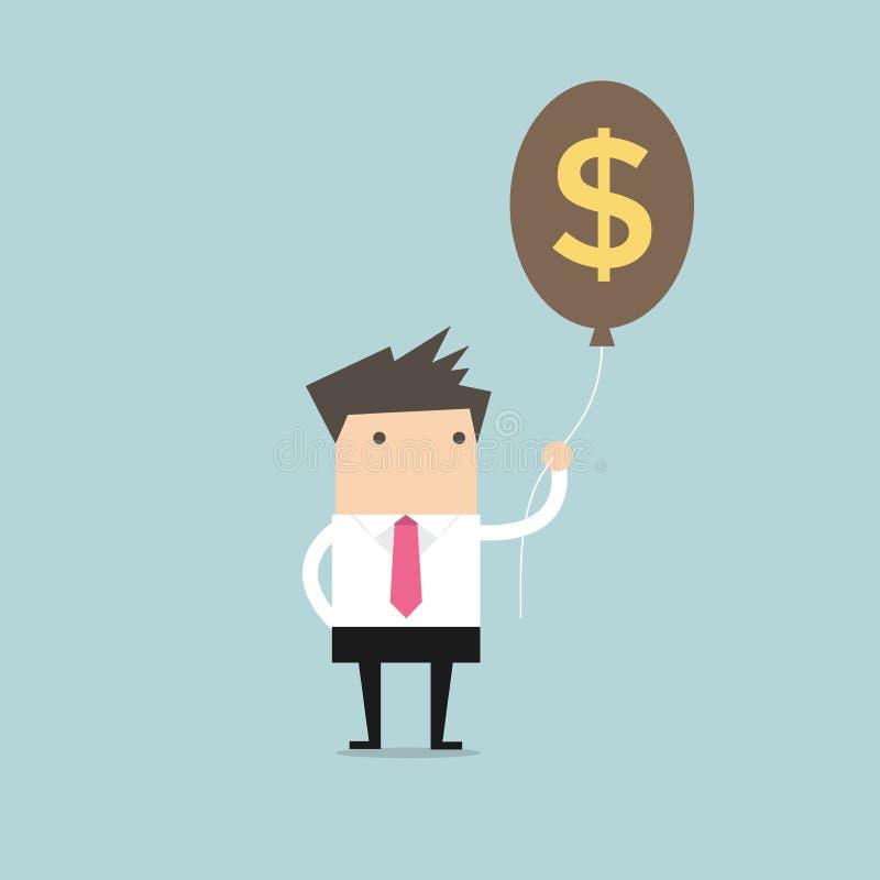 Бизнесмен держа воздушный шар знака доллара денег иллюстрация вектора