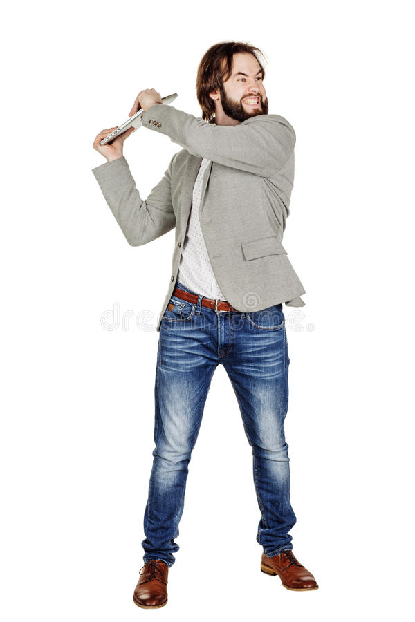 Бизнесмен держа компьтер-книжку надземный и кричащий стоковые фотографии rf