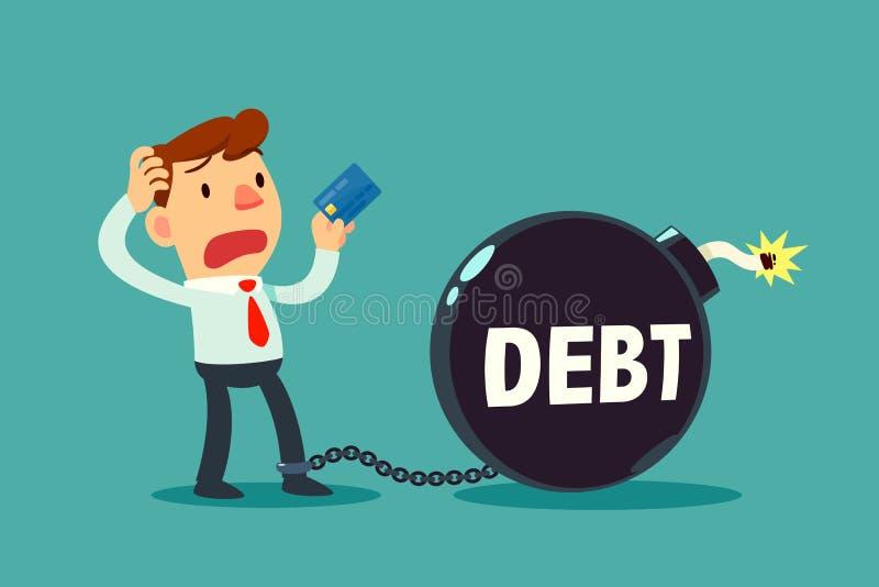 Бизнесмен держа кредитную карточку прикованный к часовой бомбе задолженности иллюстрация штока