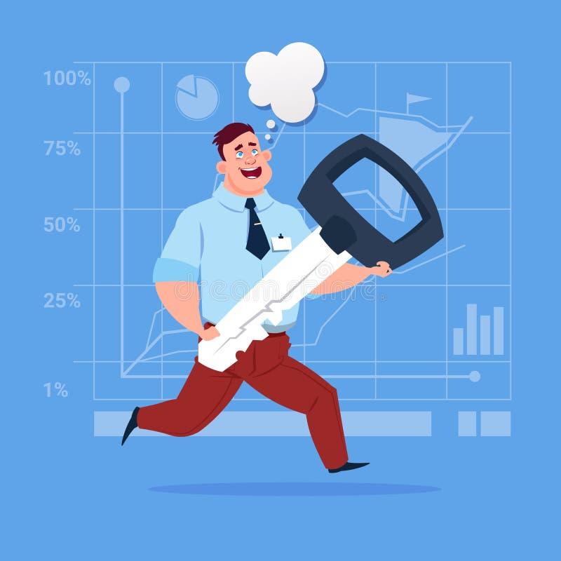 Бизнесмен держа ключевую безопасную концепцию успеха безопасностью иллюстрация вектора