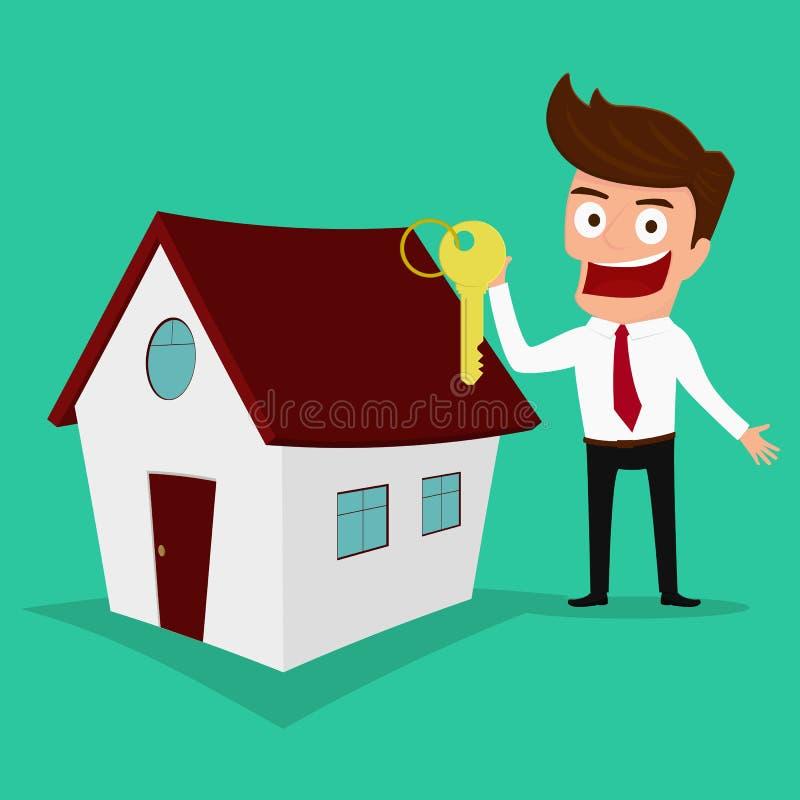 Бизнесмен держа ключ нового дома имущество принципиальной схемы реальное бесплатная иллюстрация
