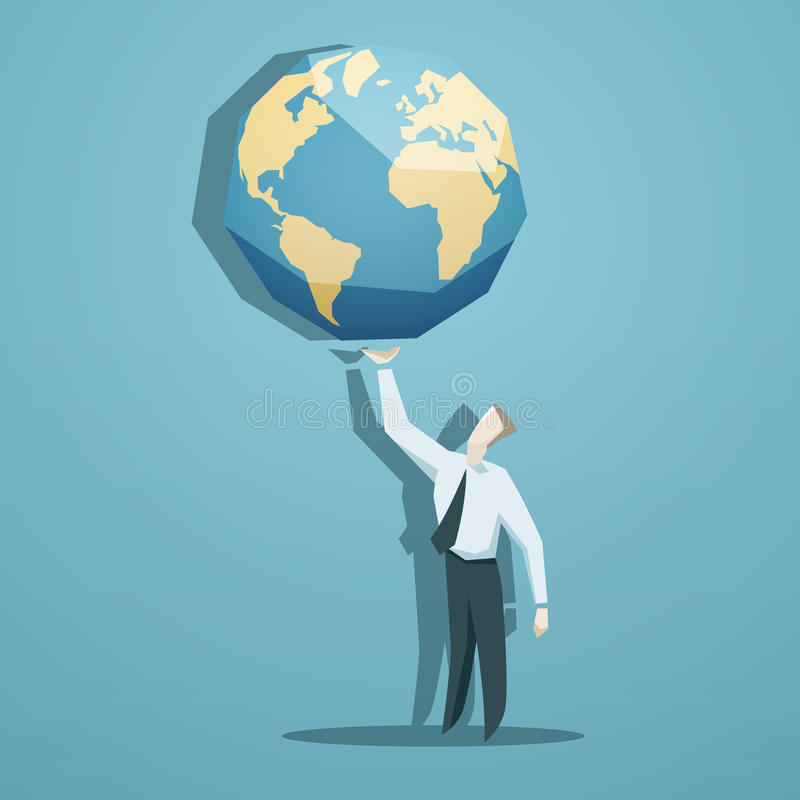 Бизнесмен держа мир в его руках иллюстрация вектора