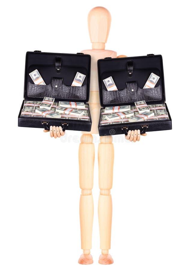 Download Бизнесмен держа случай с деньгами Стоковое Фото - изображение насчитывающей backhoe, доллар: 40578384