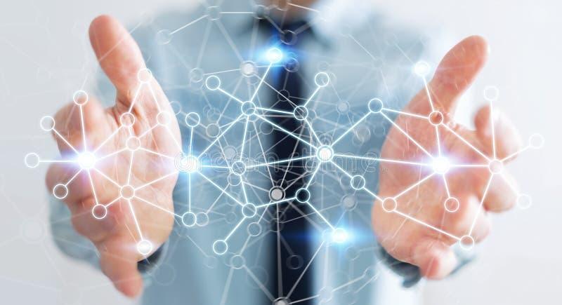 Бизнесмен держа цифровую сеть передачи данных в его renderin руки 3D иллюстрация штока