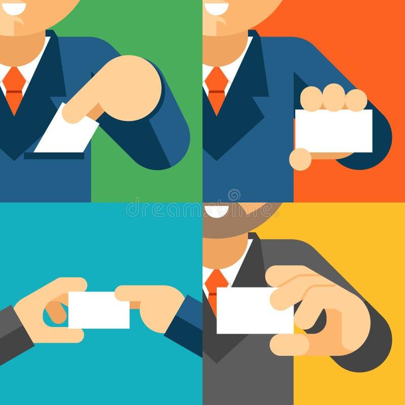 Бизнесмен держа шаблон карточки посещения в его бесплатная иллюстрация